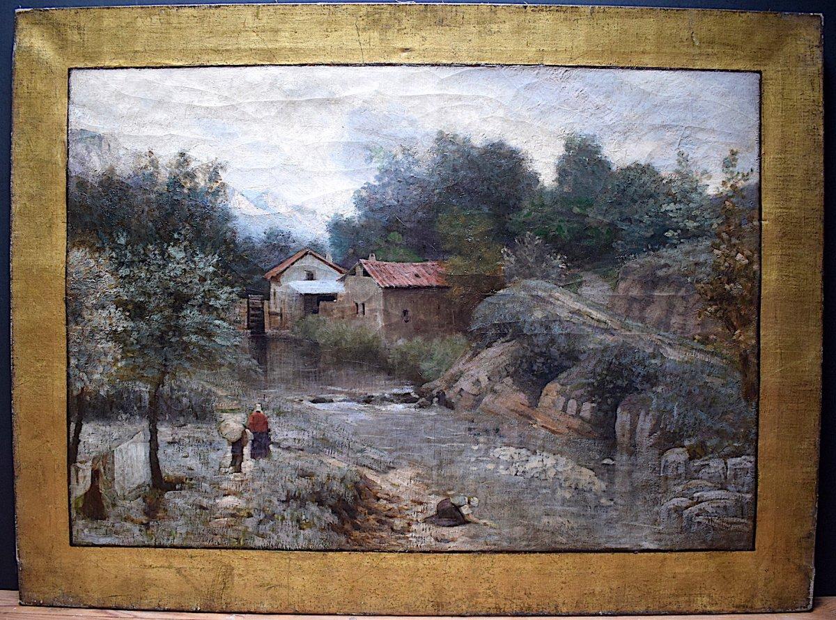 Ecole de Barbizon impressionniste Lavandières Paysage Montagne animé  non Signé à Identifier XIX