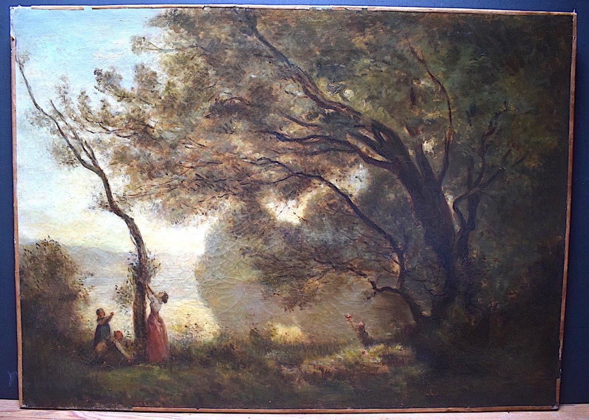 Paysage d'après  Camille Corot Souvenir de Mortefontaine XIX