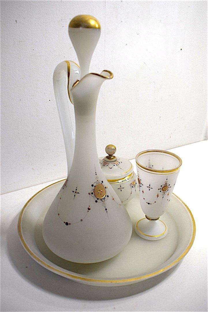 Carafe Service de Nuit dit verre d'eau cristal d' Opaline Décor Turc Oriental  Orientaliste XIX REF123-photo-3