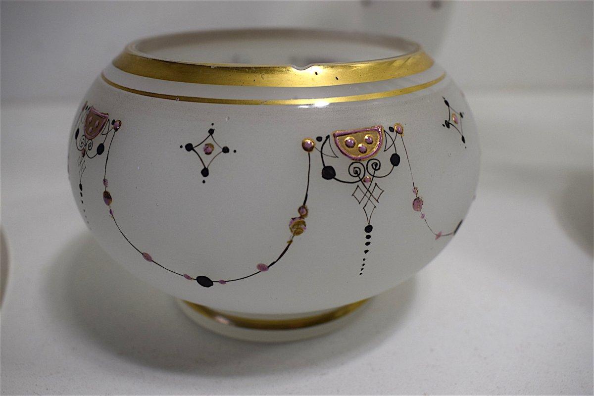 Carafe Service de Nuit dit verre d'eau cristal d' Opaline Décor Turc Oriental  Orientaliste XIX REF123-photo-4