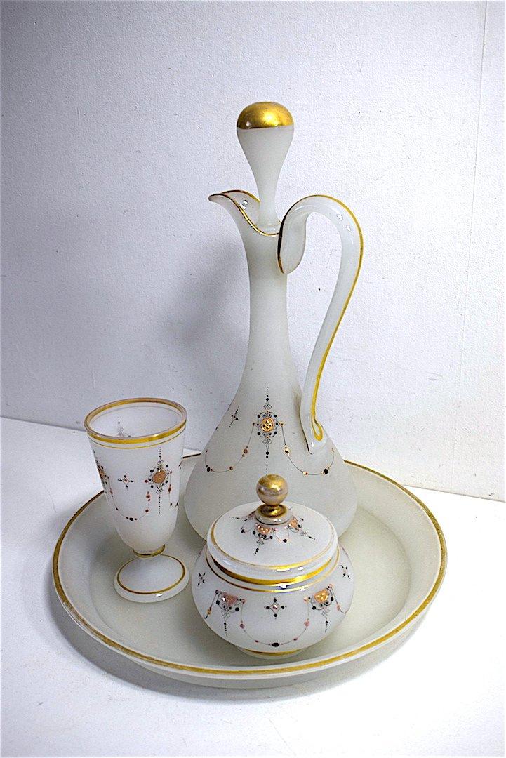 Carafe Service de Nuit dit verre d'eau cristal d' Opaline Décor Turc Oriental  Orientaliste XIX REF123
