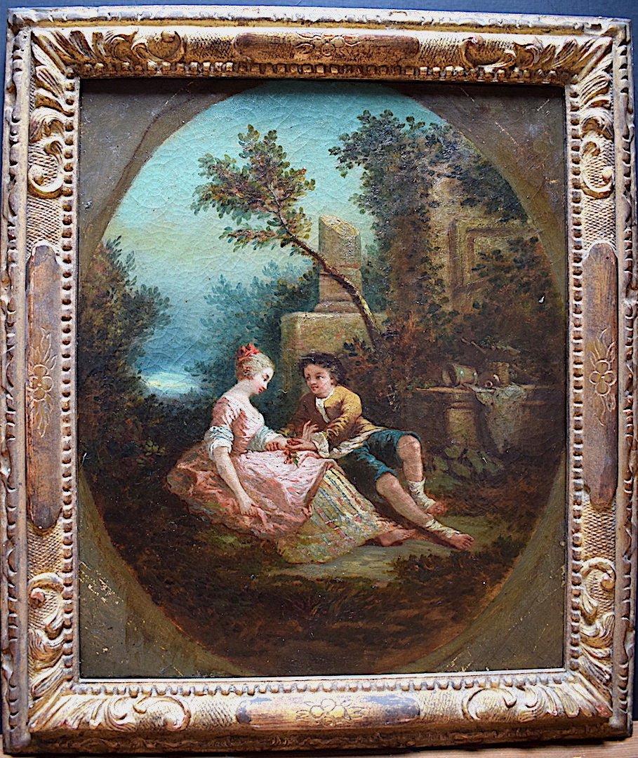 Scène Galante Romantique Jeune Fille Jeune Garçon XVIII