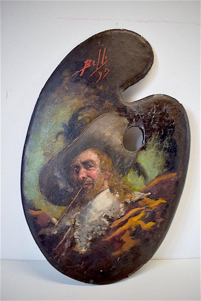 Bénito Belli Palette De Peintre  portrait Homme Au Chapeau  XVIII  Italie Italien  XIX  Signée