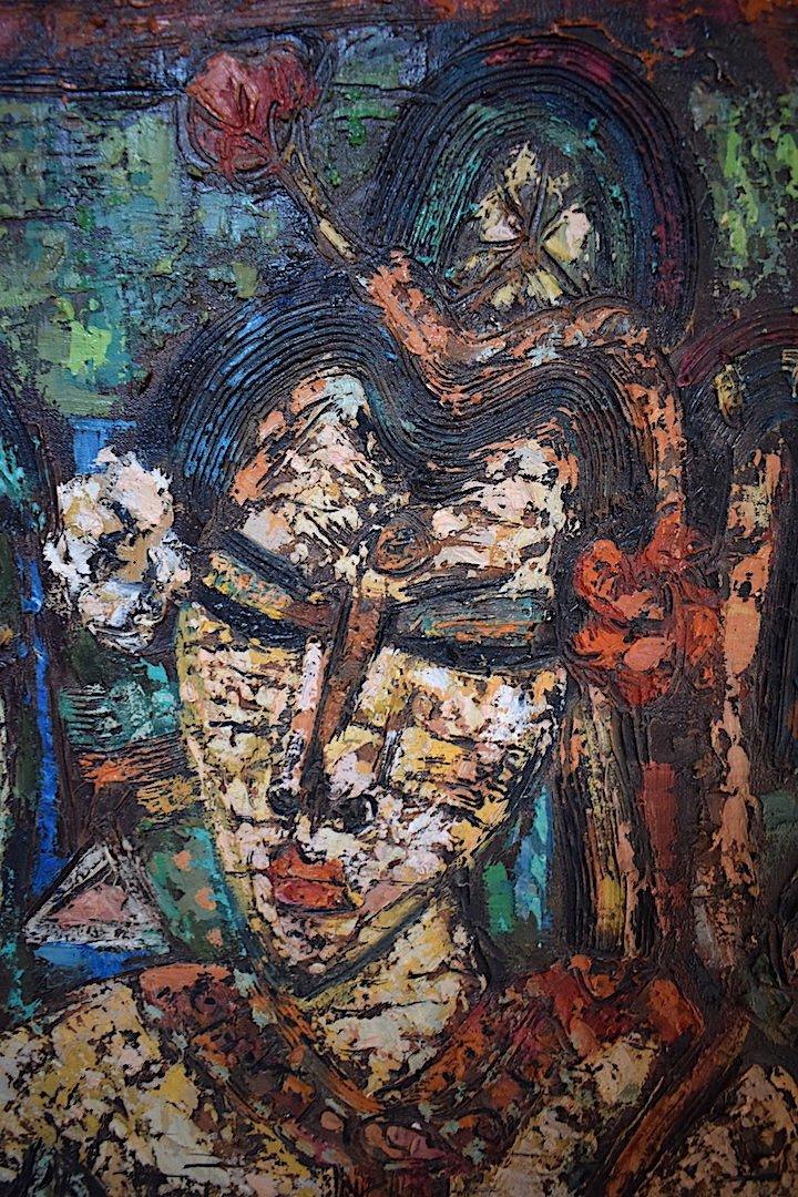 Jeunes Filles Indiennes  Art Ethnique Inde Amérique du Sud Signé à Identifier XX RT208-photo-4