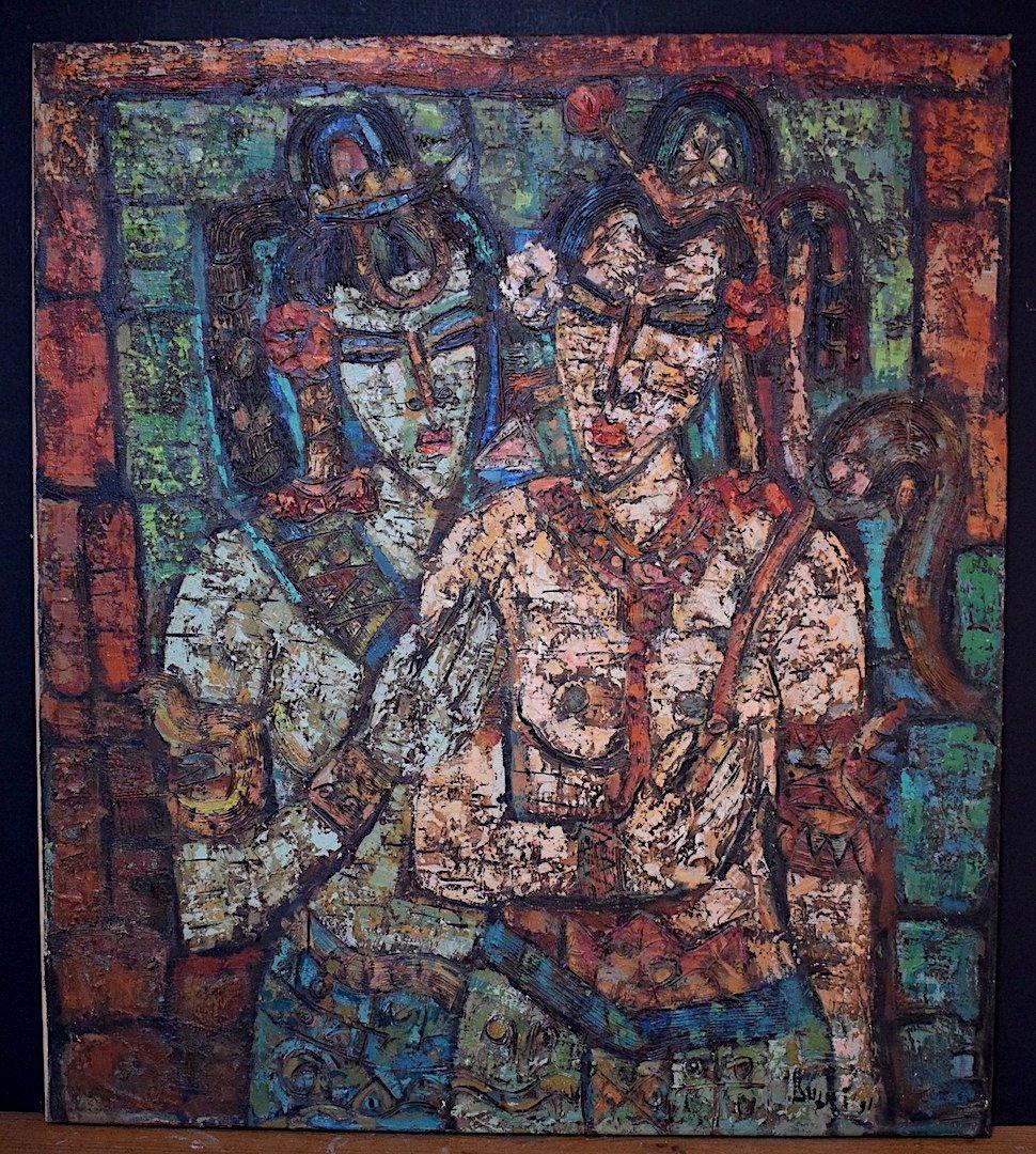 Jeunes Filles Indiennes  Art Ethnique Inde Amérique du Sud Signé à Identifier XX RT208