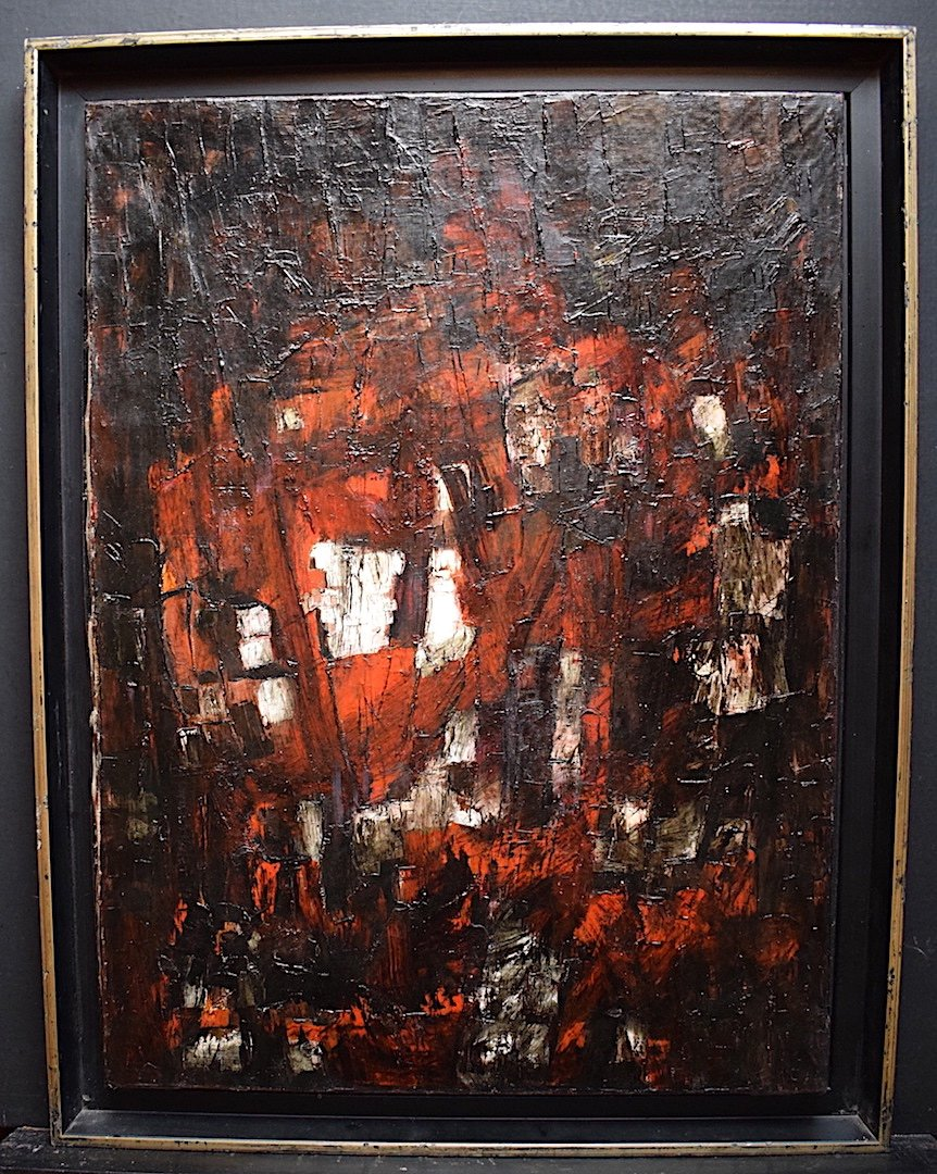 Abstract Expressionist Modernist 1950s 1957 Unsigned XX Rt241-photo-4