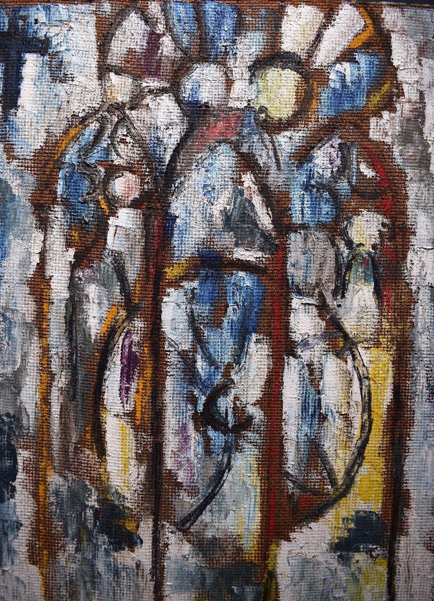 Abstrait Moderniste Vitrail Intérieur d'église Religieux Signé Serge ou Berge XX RT251-photo-2
