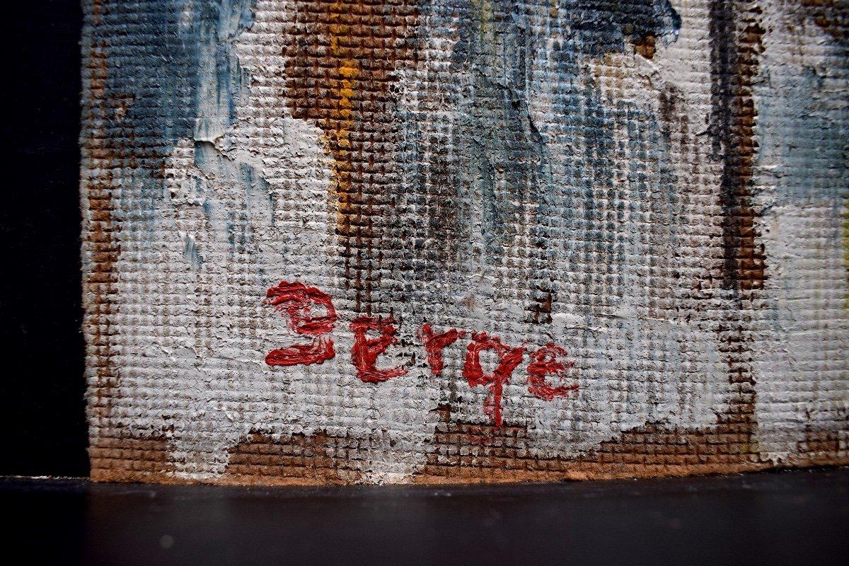 Abstrait Moderniste Vitrail Intérieur d'église Religieux Signé Serge ou Berge XX RT251-photo-1