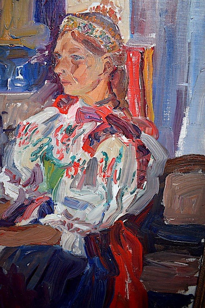 Vladimir Stepanek Czech Fawn Style Signed Sitting Woman XX Rt318-photo-3