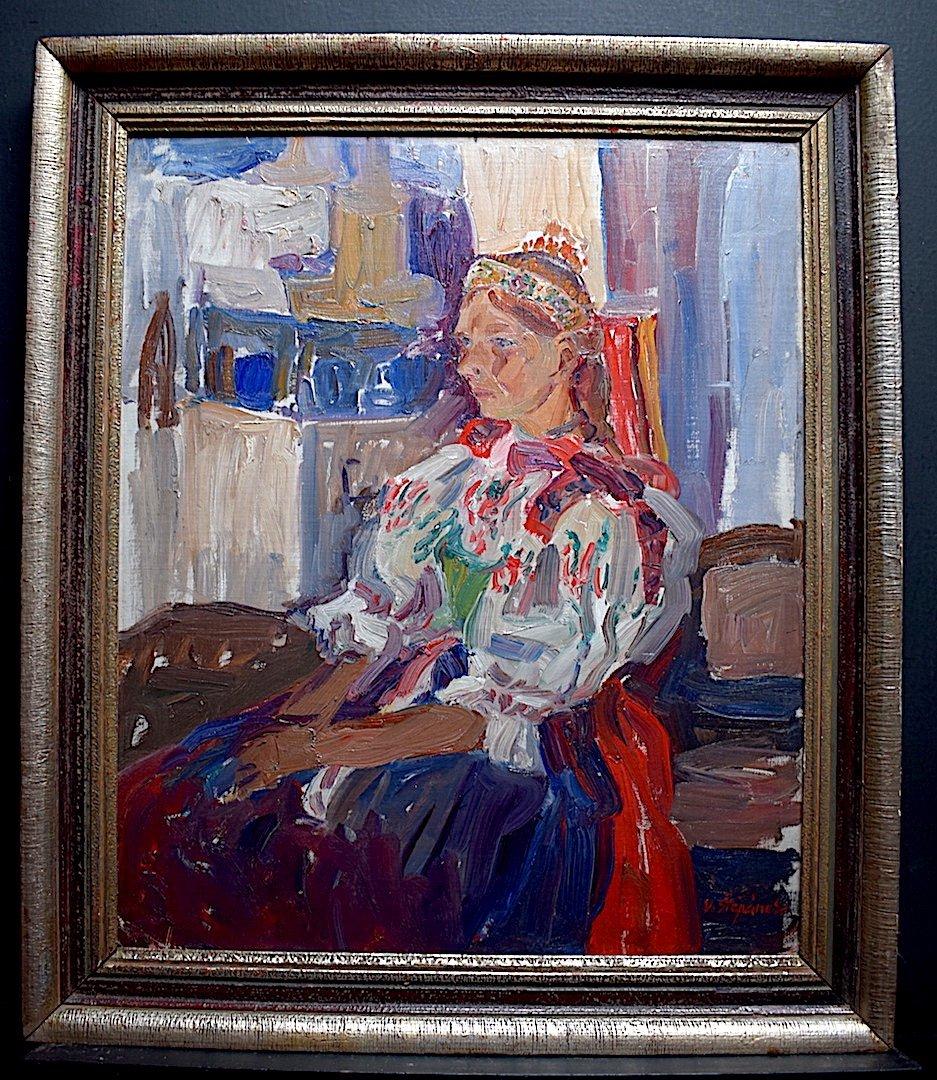 Vladimir Stepanek Czech Fawn Style Signed Sitting Woman XX Rt318