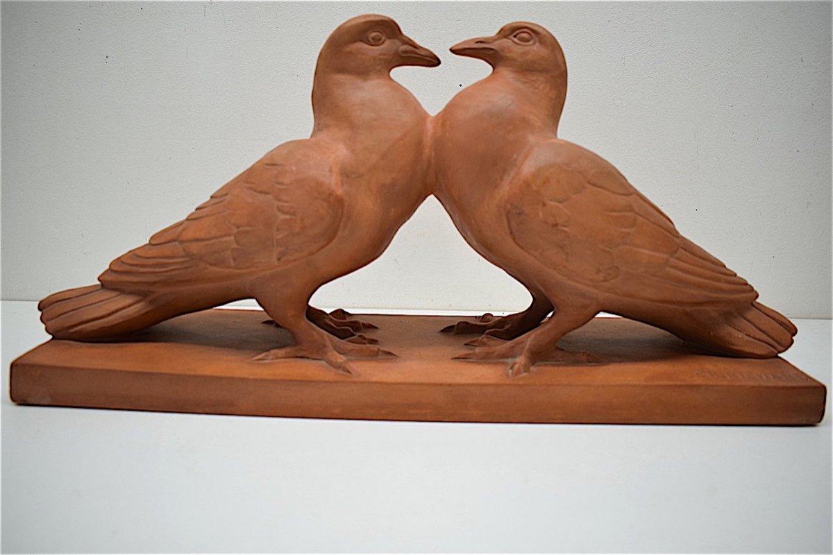 H Richard  Terre Cuite Animalière  Art Déco Couple de Pigeons Animalier XX ème REF216-photo-2