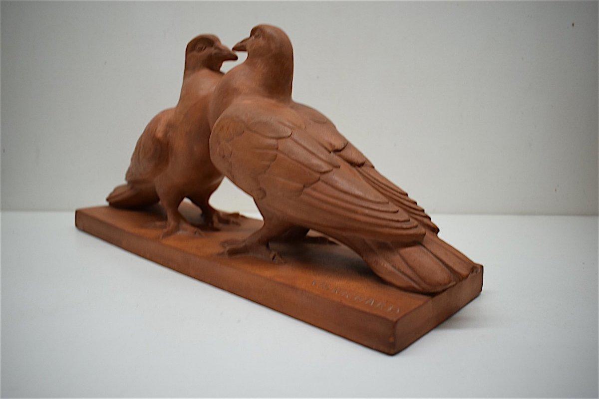 H Richard  Terre Cuite Animalière  Art Déco Couple de Pigeons Animalier XX ème REF216-photo-3