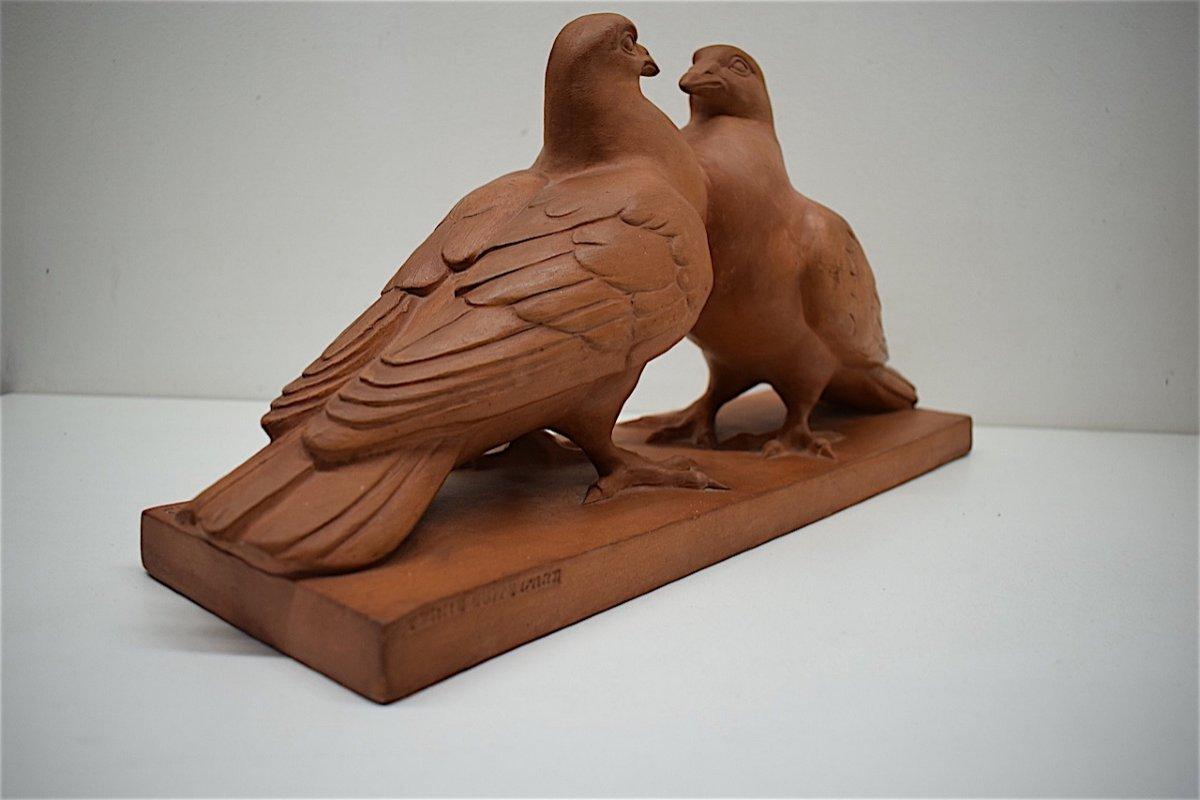 H Richard  Terre Cuite Animalière  Art Déco Couple de Pigeons Animalier XX ème REF216-photo-4