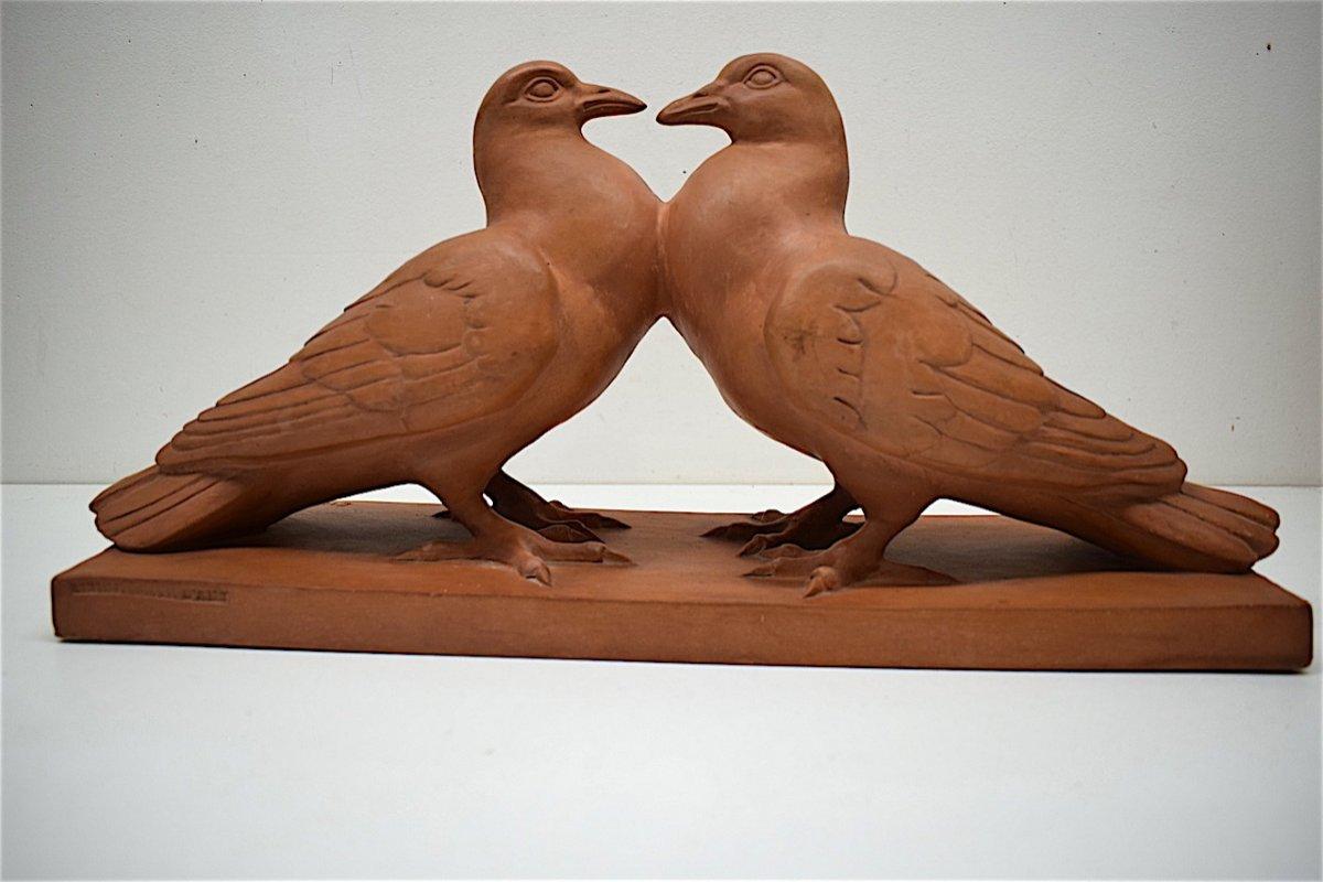 H Richard  Terre Cuite Animalière  Art Déco Couple de Pigeons Animalier XX ème REF216-photo-1