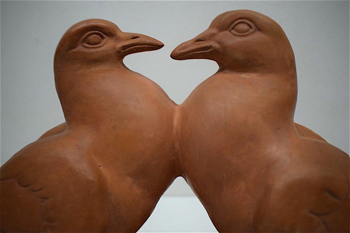 H Richard  Terre Cuite Animalière  Art Déco Couple de Pigeons Animalier XX ème REF216-photo-5