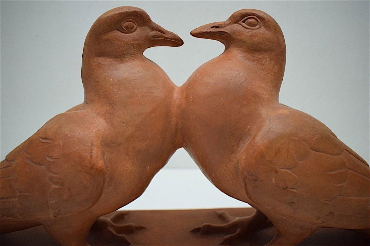 H Richard  Terre Cuite Animalière  Art Déco Couple de Pigeons Animalier XX ème REF216-photo-6