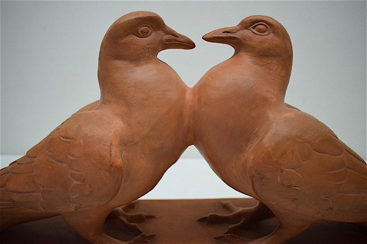 H Richard  Terre Cuite Animalière  Art Déco Couple de Pigeons Animalier XX ème REF216-photo-7