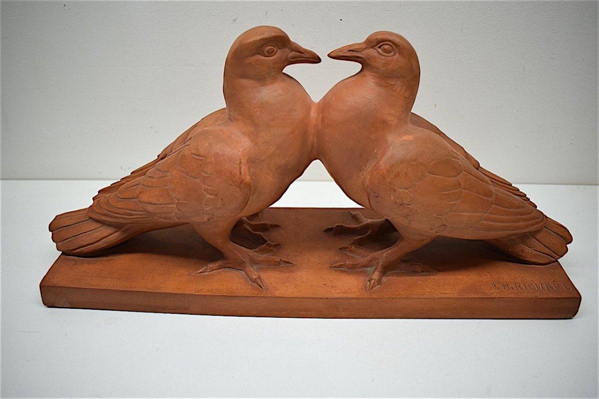 H Richard  Terre Cuite Animalière  Art Déco Couple de Pigeons Animalier XX ème REF216
