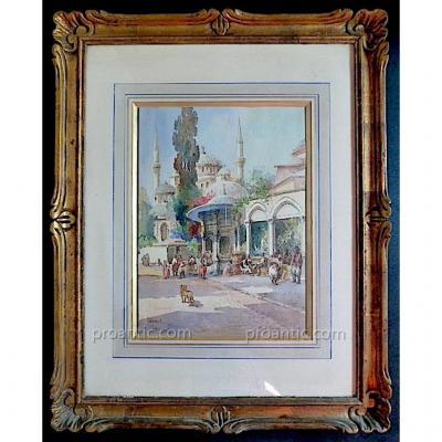 Orientaliste Istanbul Turquie Mosquee Sultan Bayezid signé J Pavlekevich Pawlikiewicz XX
