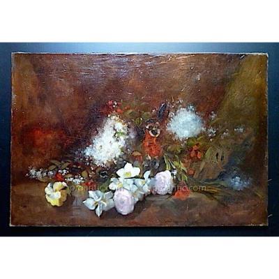 Nature Morte Jetee De Fleurs Roses Pensees Lilas Signé Enjolras D XIX XX