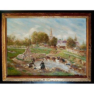 H D Estienne  Bretonnes Lavandieres Impressionniste Signé H D Estienne XIX XX