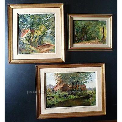 Pros De Wit 3 Paysages Campagne Sous Bois impressionniste Belge Signé Pros De Wit XIX XX