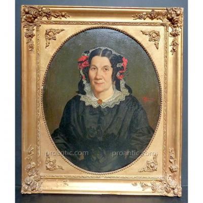 Emile Roumens Signé Portrait Femme Languedoc Carcassonne Aude XIX