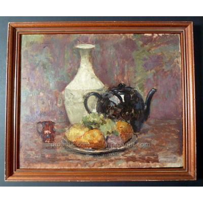 Pierre Tastemain Signé Nature Morte Impressionniste Fruits Vase Theiere XX
