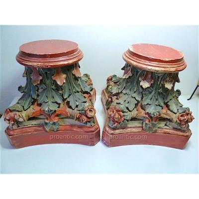 Paire De Socles En Bois Peint Pour Grandes Statues Vases Ou  Sculptures époque 1900 H 38 Cm