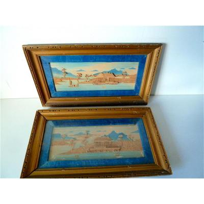 Tableaux Paire de diorama Marine chinoise Temple  Chine XIX 19th