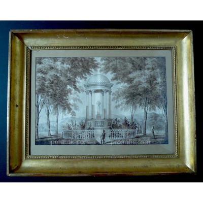 Horace Vernet Signé Sujet Militaire Histoire Monument à Louis XVIII Aquarelle Lavis XIX