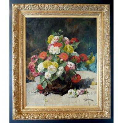 G Jeannin XIX XX Nature Morte Bouquet Fleurs