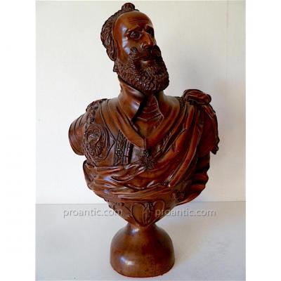 Sculpture Bust Henri IV Wood Carved Box XIX Signed Glue Dated Located