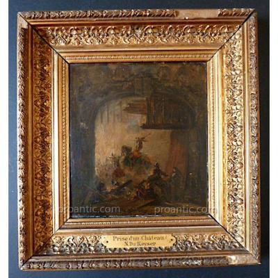Nicaise De Keyser Peintre Belge Romantique Scène De Bataille  Prise d'Un Château XIX