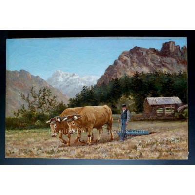 Tristan  Lacroix Peintre Animalier Paysage Scène Champêtre Montagne Pyrénées XIX ème Siècle
