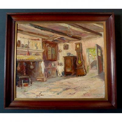 Signé Roussarie 1942 Scène D'intérieur Rustique Impressionniste XX