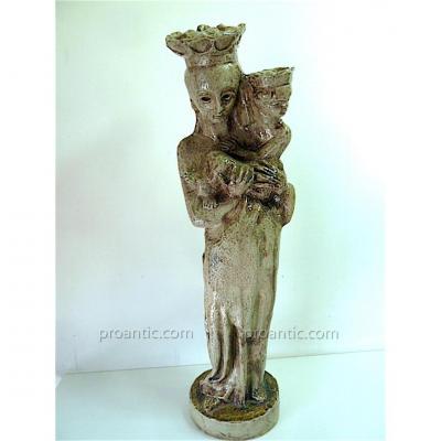 Vierge à l'Enfant Terre Cuite émaillée Grise Vers 1960 Signée à Identifier XX 20th 64 Cm