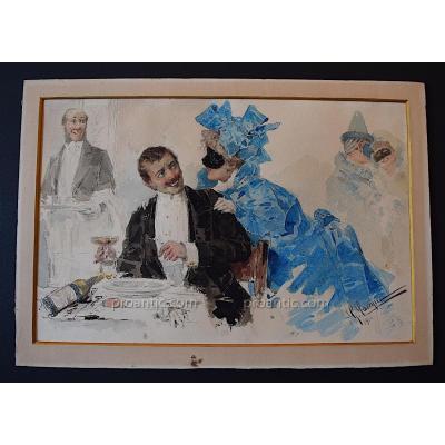 Giacomo Campi Aquarelle Scène Galante Carnaval Venise Italien Italie 1900