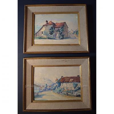 Paul Leschevin Deux Aquarelles Paysages Doubs Glay Meslières Signés  XX
