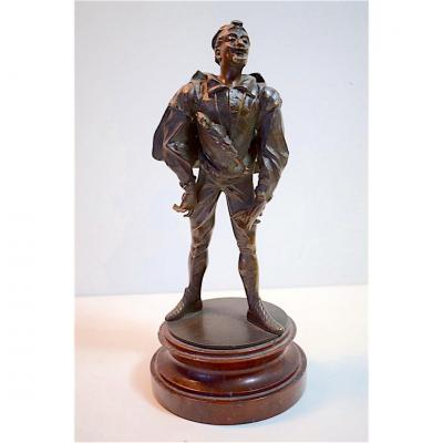 Bronze Theater Character From The Italian Commedia Dell'arte XIXth 19th