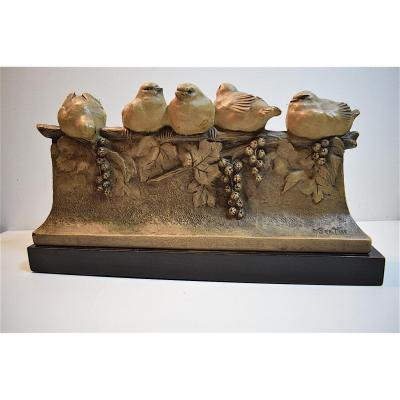 Terracotta With Birds Art Nouveau Art Deco Signed M Bertin XX 20th