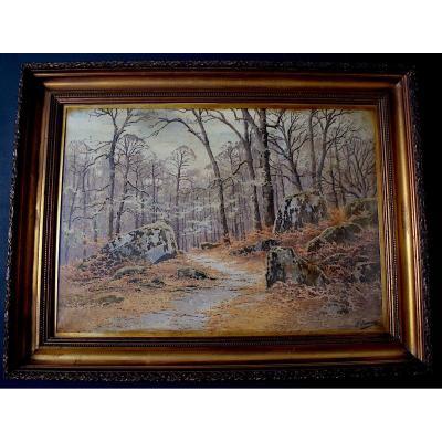 Joseph Jeannot Foret De Fontainebleau Ecole De Barbizon aquarelle XIX