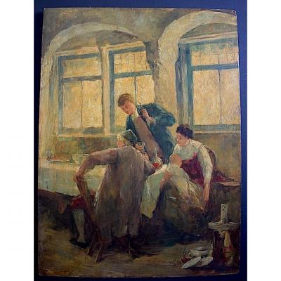 Dansaert Léon Marie Constant XIX ème Scène De Genre Intimiste Taverne Maternité Belge