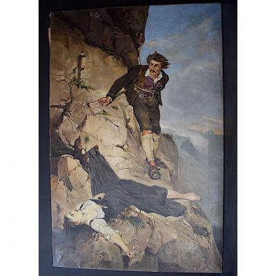 Otto Keck Allemand Allemagne Montagne Alpinisme Scène De Genre 1900 XIX XX
