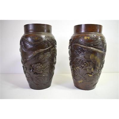 Paire de Vases Bronze Japon XIX ème Combat de Coq Faisan Japan