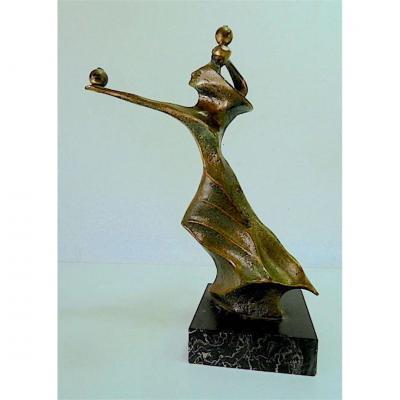 Sculpture Of Woman Modern Art Bronze Marble Robert Seguineau XX 20th