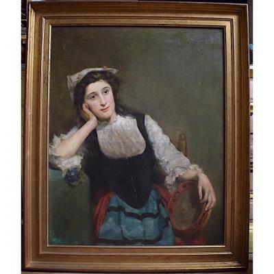 Marie Aimée Lucas-Robiquet jeune femme Orientaliste au Tambourin Musique Musicienne XIX XX.