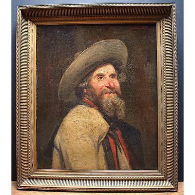 G . Moroge Signé Portrait ou Autoportrait du Peintre Personnage Bretagne Breton  XIX  XX
