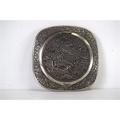 Minaudière Boite Poudrier Argent Massif Chine Indochine Chinese Sylver Homme Buffle 20th XX