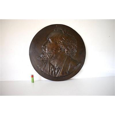 Plaquette Bas Relief en Médaillon Bronze Portrait Léon Gambetta XIX 19th